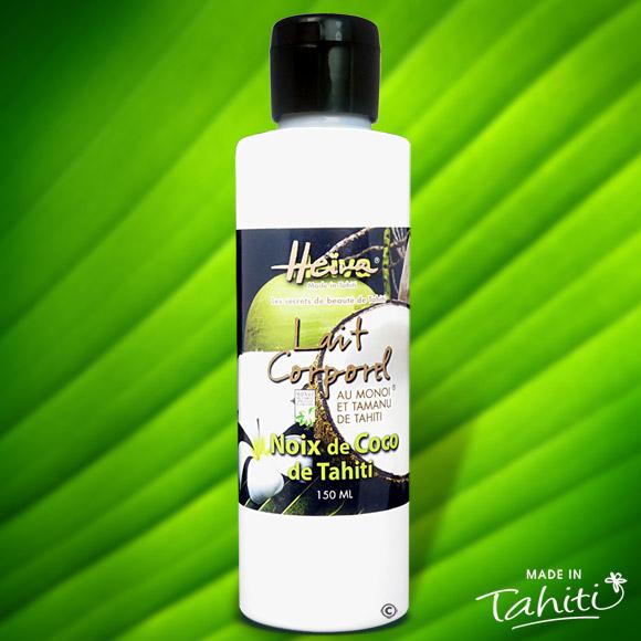 Ce lait corporel à la Noix de Coco est enrichi de 2 % de Monoï de Tahiti Appellation d'Origine et d'extraits végétaux de Tahiti comme le célèbre Tamanu.