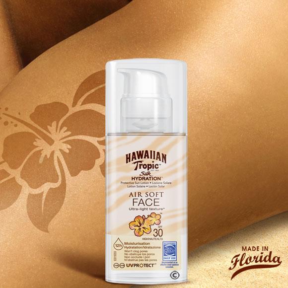 Silk Hydratation Air Soft Hawaiian Tropic : l'alliance d'une crème de protection avec une crème d'hydratation : le 2 en 1 pour une peau hydratée et protégée, avec une texture ultra-légère...