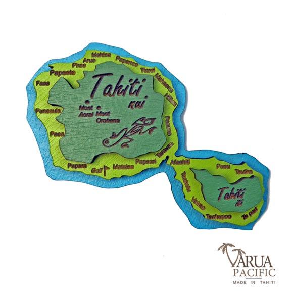 MAGNET  BOIS CARTE DE TAHITI XL VARUA PACIFIC M13