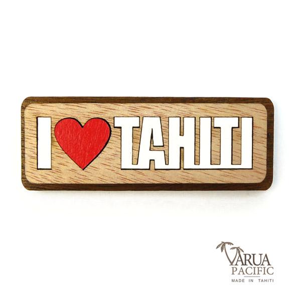 MAGNET BOIS I LOVE TAHITI VARUA PACIFIC M17