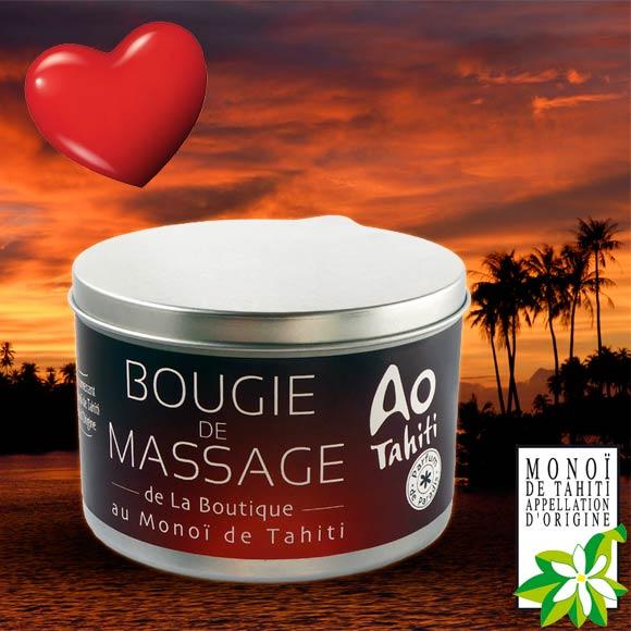 Cette Bougie de Massage contient du véritable Monoï de Tahiti Appellation d'Origine. 95 % de ses ingrédients sont d'origine naturelle.