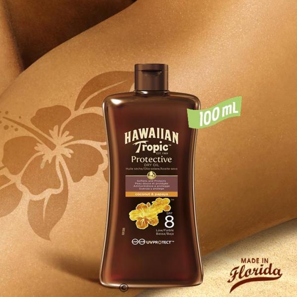Cette huile protectrice sèche en flacon nomade vous offre un voile efficace contre les rayons UVA/UVB du soleil et hydrate votre peau pour la rendre éclatante et lumineuse.