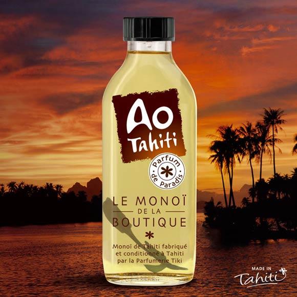 Ao signifie la béatitude, le bonheur, en langue tahitienne. Ao est empreint de beaucoup de spiritualité, évoquant le Monde supérieur. Comme adjectif, il désigne un liquide de première qualité.