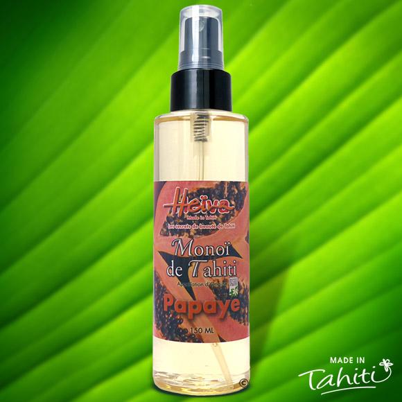 Appréciez la pureté à 99% du Monoï authentique Heiva Tahiti en flacon 150 ml Spray. Ce Monoï est livré sous film hermétique.