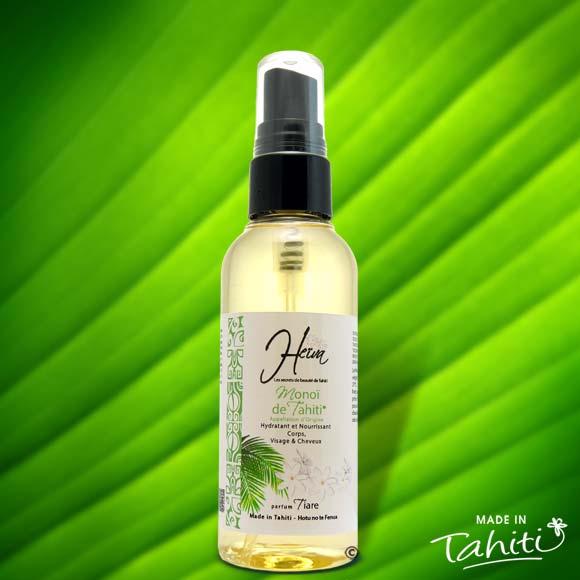 Appréciez la pureté à 99% du Monoï authentique Heiva Tahiti en flacon nomade 75ml Spray.