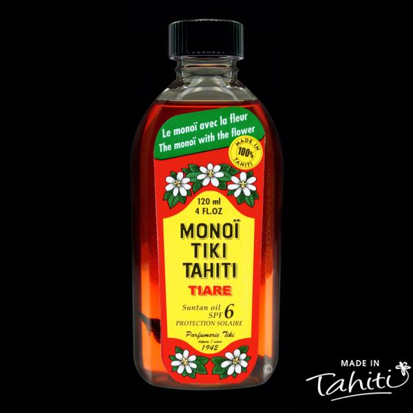 Le Monoï Rouge pour la plage ! Ce Monoï Tiki Tahiti 120 ml parfum Tiaré enrichi d'un léger filtre solaire UV6 est fabriqué à Tahiti-Faaa par la Parfumerie Tiki depuis 1942.