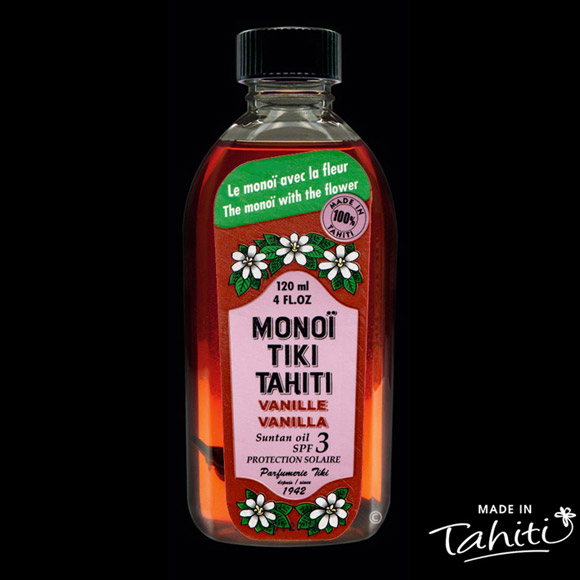 Le Monoï rouge pour la plage ! Ce Monoï Tiki Tahiti 120 ml parfum Vanille enrichi d'un léger filtre solaire SPF 3 est fabriqué à Tahiti-Faaa par la Parfumerie Tiki depuis 1942.