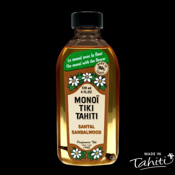 Un parfum rare de Santal boisé ! Ce Monoï Tiki Tahiti 120 ml parfum Santal est fabriqué à Tahiti-Faaa par la Parfumerie Tiki depuis 1942.