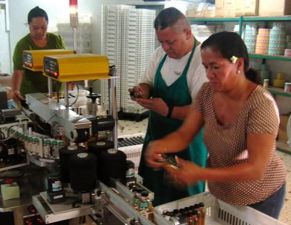 Le personnel polynésien de La Parfumerie Tiki à l'oeuvre: chaque fleur de Tiaré Tahiti est encore mise en bouteille à la main !