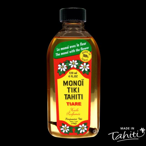 L'Original avec la fleur de Tiaré Tahiti ! Ce Monoï Tiki Tahiti 120 ml parfum Tiaré est fabriqué à Tahiti-Faaa par la Parfumerie Tiki depuis 1942.