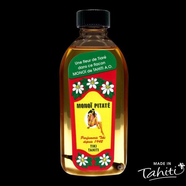 Parfum rare du Pitate Tahiti, ke Jasmin de Polynésie. Ce Monoï Tiki Tahiti 120 ml parfum Jasmin est fabriqué à Tahiti-Faaa par la Parfumerie Tiki depuis 1942.