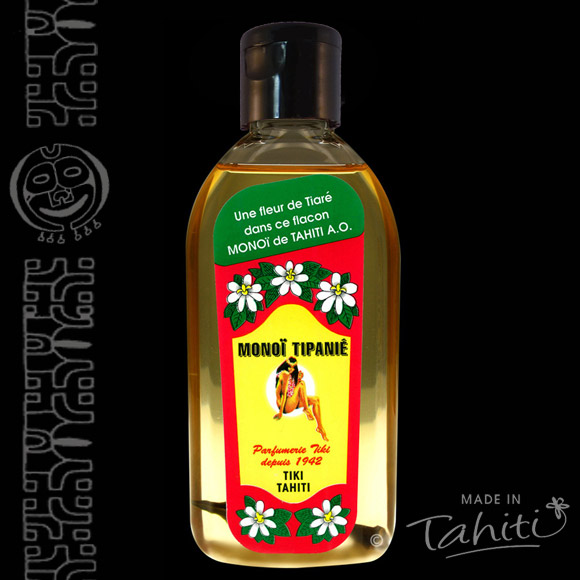 Tipanie ! Un grand classique polynésien ! Ce Monoï Tiki Tahiti 120 ml parfum Frangipanier est fabriqué à Tahiti-Faaa par la Parfumerie Tiki depuis 1942.