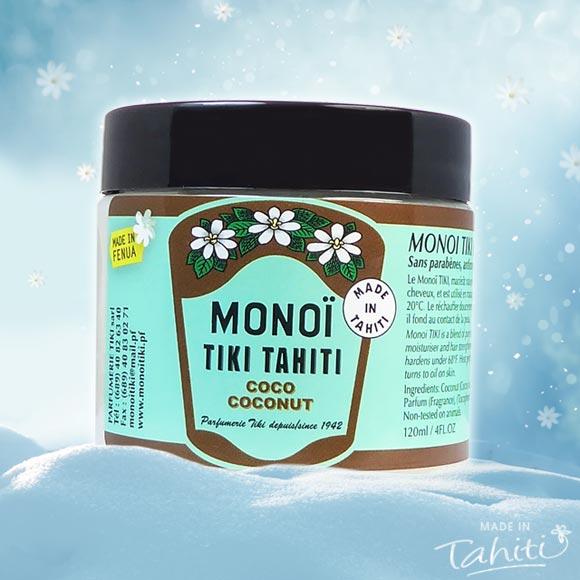 L'Original avec la fleur de Tiare Tahiti en pot pour l'hiver, une fois l'huile figée. Ce Monoï Tiki Tahiti 120 mL parfum Coco est fabriqué à Tahiti-Faaa par la Parfumerie Tiki depuis 1942.