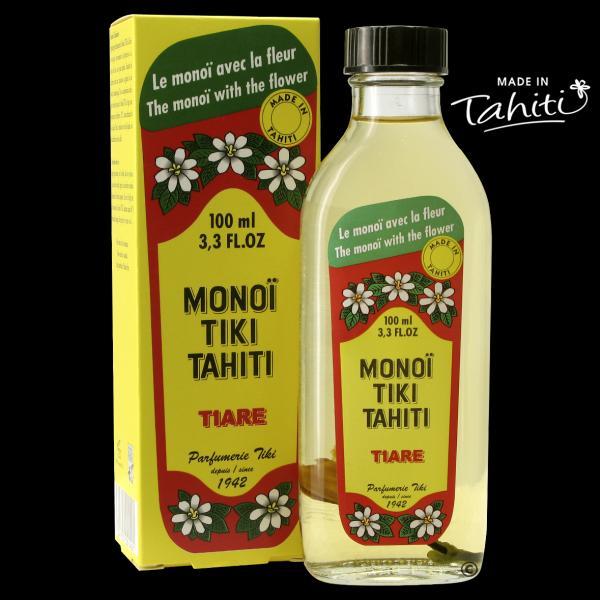 L'Original avec la fleur de Tiaré Tahiti ! Ce Monoï Tiki Tahiti 100 ml parfum Tiaré est fabriqué à Tahiti-Faaa par la Parfumerie Tiki depuis 1942. Il convient parfaitement à un cadeau avec sa jolie boîte cartonnée.