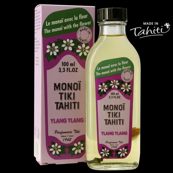 Moto'i ! Un grand classique polynésien en flacon verre ! Ce Monoï Tiki Tahiti 100 ml parfum Ylang Ylang est fabriqué à Tahiti-Faaa par la Parfumerie Tiki depuis 1942. Cadeau idéal !