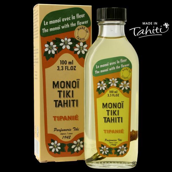 Tipanié ! Un grand classique polynésien en flacon verre ! Ce Monoï Tiki Tahiti 100 ml parfum Frangipanier est fabriqué à Tahiti-Faaa par la Parfumerie Tiki depuis 1942. Cadeau idéal !