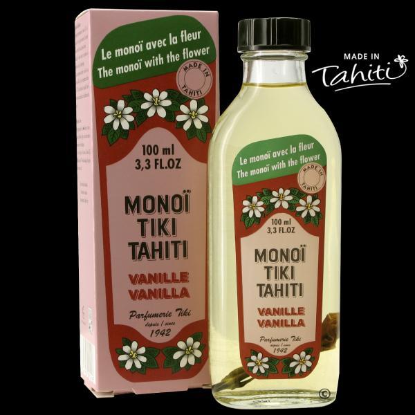 Vanille de Tahiti (elle en contient !). Un grand classique polynésien en flacon verre ! Ce Monoï Tiki Tahiti 100 ml parfum Vanille est fabriqué à Tahiti-Faaa par la Parfumerie Tiki depuis 1942. Cadeau idéal !