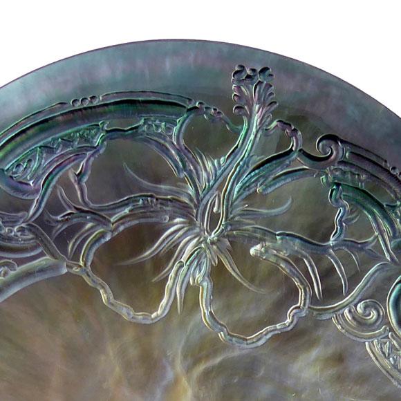 La photo ci-dessus est proche de la nacre proposée, elle peut toutefois présenter des reflets et des détails différents d'une gravure à l'autre.