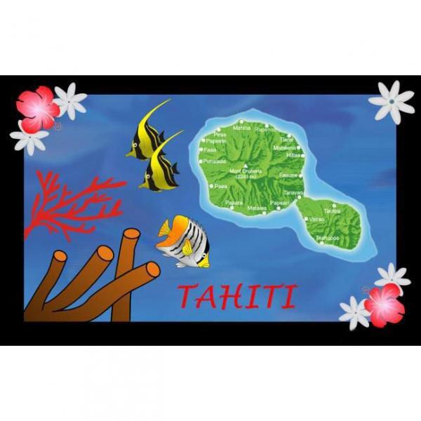 PAREO BALI ART FAIT MAIN CARTE DE TAHITI