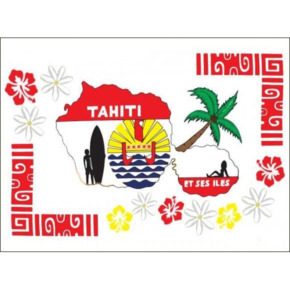 PAREO BALI ART FAIT MAIN CARTE TAHITI ET SYMBOLES 53