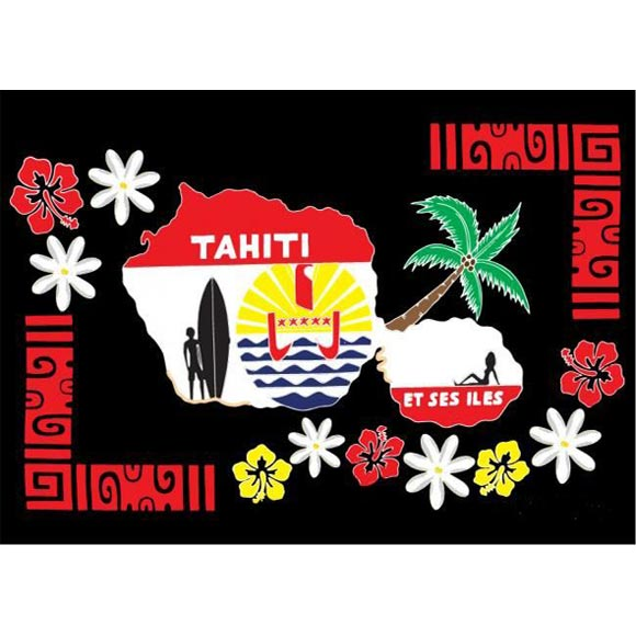 PAREO BALI ART FAIT MAIN CARTE TAHITI ET SYMBOLES 56