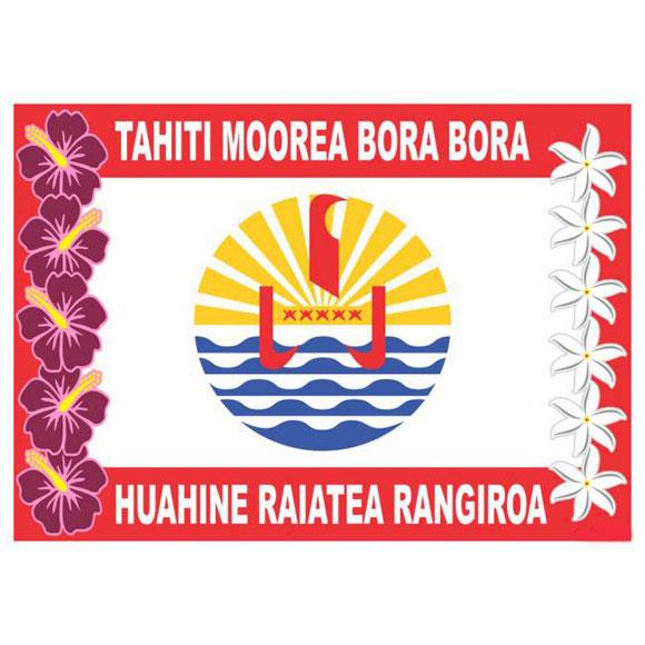 PAREO BALI ART FAIT MAIN DRAPEAU TAHITIEN