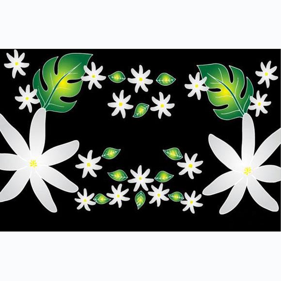 PAREO BALI ART FAIT MAIN FLEURS DE TIARE TAHITI