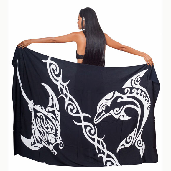 PAREO BALI ART FAIT MAIN MANTA DAUPHIN TRIBAL 52