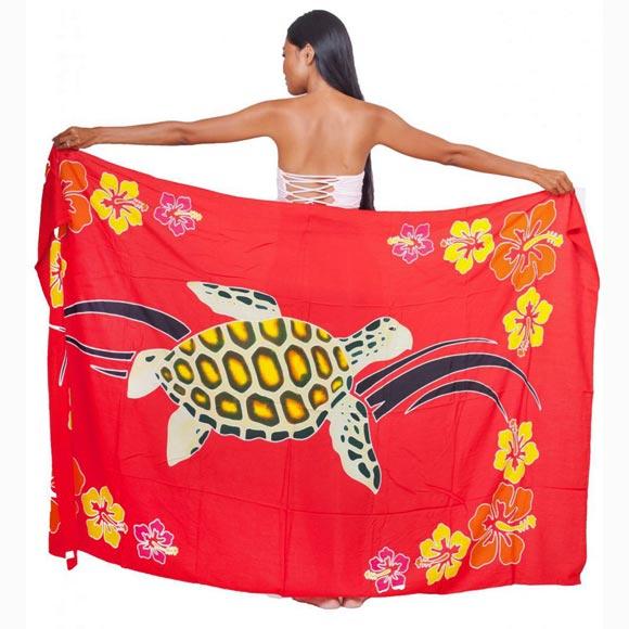 PAREO BALI ART FAIT MAIN TORTUE HONU TAHITI