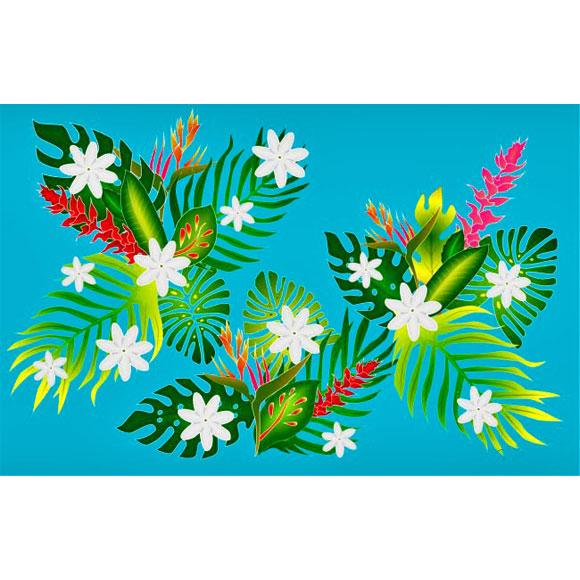 PAREO BALI ART FAIT MAIN VEGETAL ET FLEURS TAHITI 25
