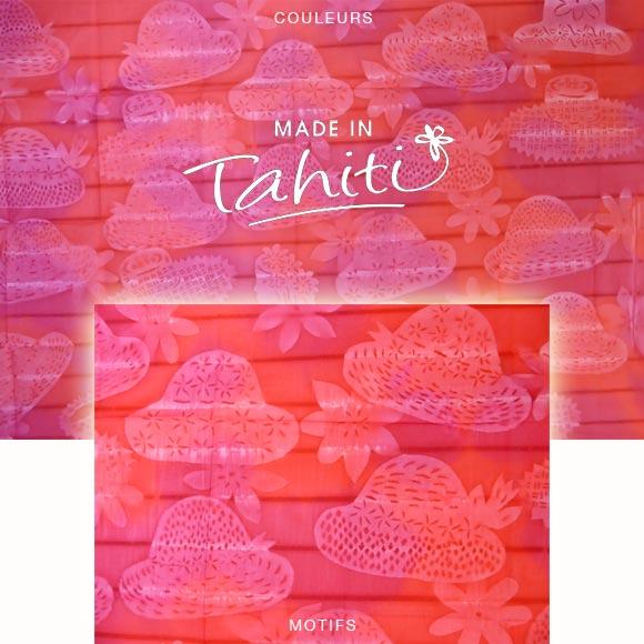 PAREO TAHITI DU MARCHÉ DE PAPEETE VOILE DE COTON B26