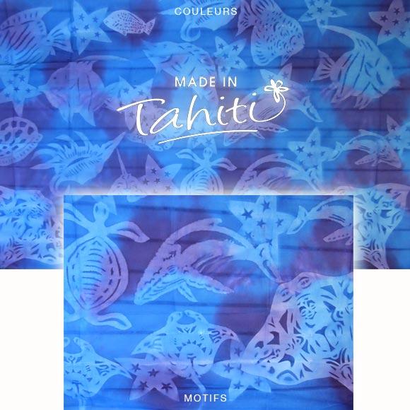 PAREO TAHITI DU MARCHÉ DE PAPEETE VOILE DE COTON E10