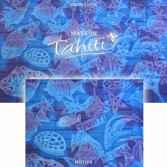 PAREO TAHITI DU MARCHÉ DE PAPEETE VOILE DE COTON E22