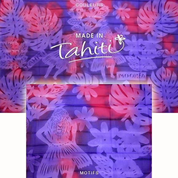 PAREO TAHITI DU MARCHÉ DE PAPEETE VOILE DE COTON J27
