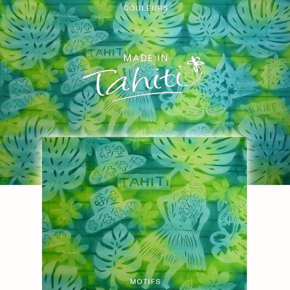 PAREO TAHITI DU MARCHÉ DE PAPEETE VOILE DE COTON J4
