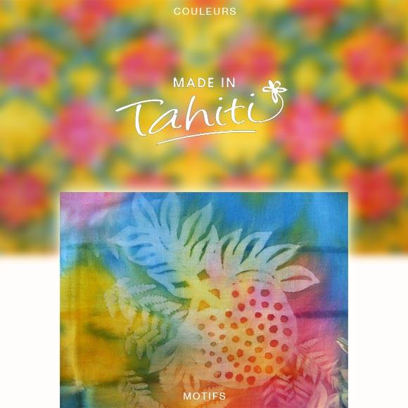 PAREO TAHITI DU MARCHÉ DE PAPEETE VOILE DE COTON PF8