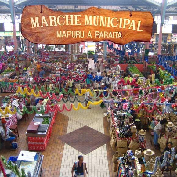 Le Marché de Papeete sur l'île de Tahiti
