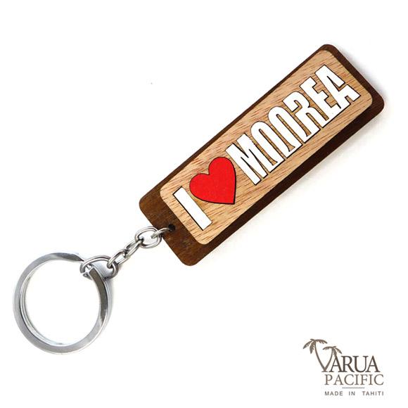PORTE CLES BOIS VARUA PACIFIC  I LOVE MOOREA PC12