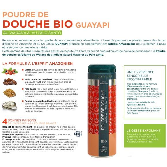 POUDRE DE DOUCHE BIO 50G 100% NATUREL GUAYAPI