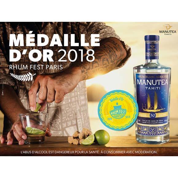 Médaille d'Or au Rhum Fest 2018 pour ce Rhum Blanc Agricole Manutea.
