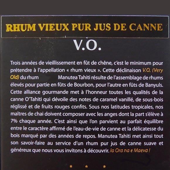 RHUM VIEUX VO VERY OLD 43° MANUTEA TAHITI 70CL