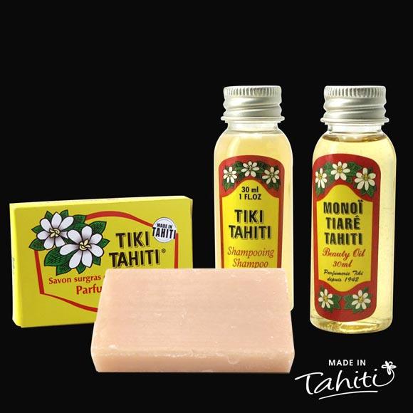 Les Rikiki de chez Tiki : mini produits à offrir, pour découvrir, très pratiques en voyage...le tout parfum Tiaré, et fabriqués à Tahiti-Faaa par la Parfumerie Tiki depuis 1942.