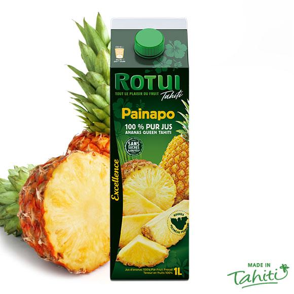 Le Top du Top : pur jus pressé d'Ananas de Moorea sans sucre ajouté, sans conservateur ni colorant. Unique !