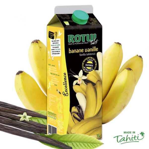 Ancienne version. Tout le monde connaît le gout de la banane, source d'énergie. Mais le connaissez-vous, une fois épicé de Vanille de Tahiti ? Beaucoup de douceur et onctuosité dans ce mariage rare venu de Moorea, l'ile soeur de Tahiti. Servir frais.