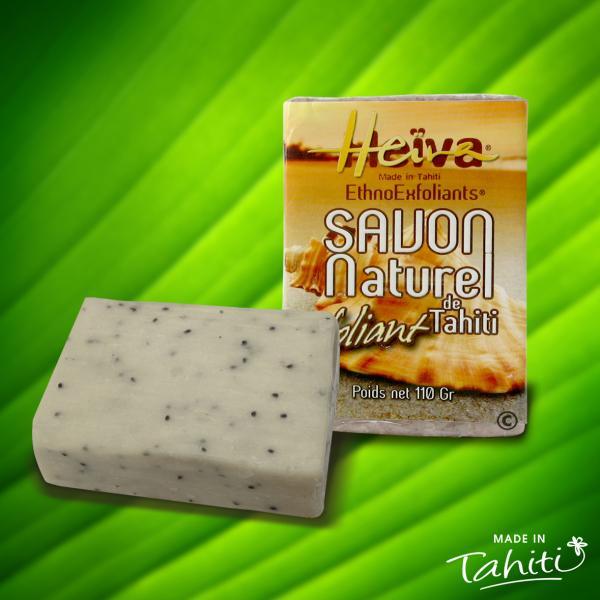 Les petites pépites contenues dans ce savon ethno exfoliant Heiva sont des particules de noyaux d'abricot, pour un gommage très facile de la peau...