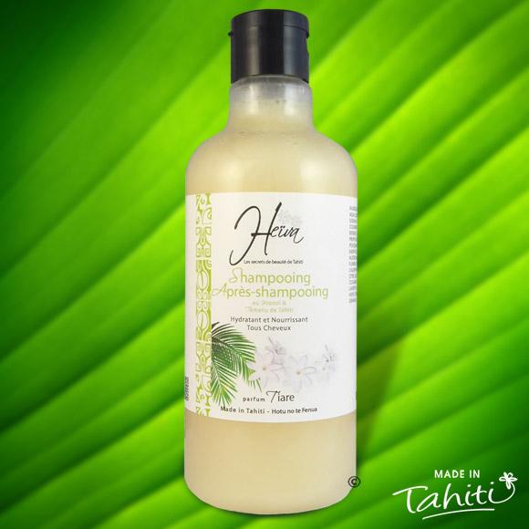 Ce shampooing parfumé à la Fleur de Tiare Tahiti est enrichi de 0,3 % de Monoï de Tahiti Appellation d'Origine et d'extraits végétaux de Tahiti comme le célèbre Tamanu.