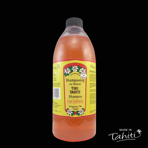 Ce Shampooing au Monoï Tiki Tahiti 1 Litre parfum Tiare est fabriqué à Tahiti-Faaa par la Parfumerie Tiki depuis 1942.