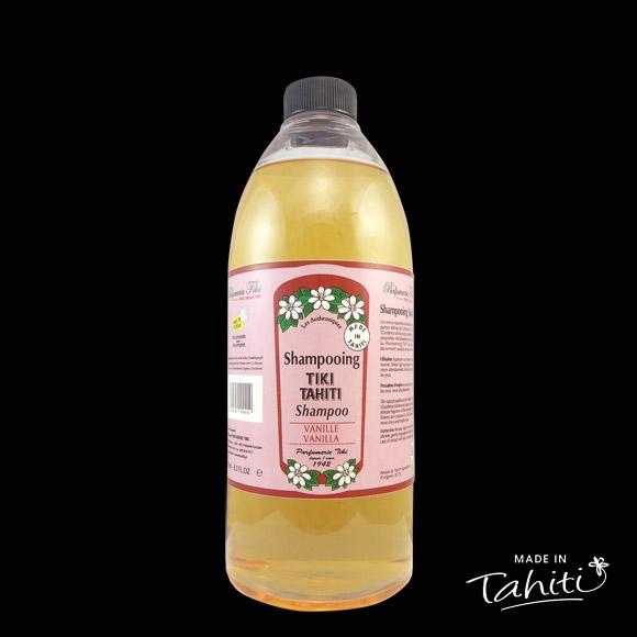 Ce Shampooing au Monoï Tiki Tahiti 1 Litre parfum Vanille est fabriqué à Tahiti-Faaa par la Parfumerie Tiki depuis 1942.