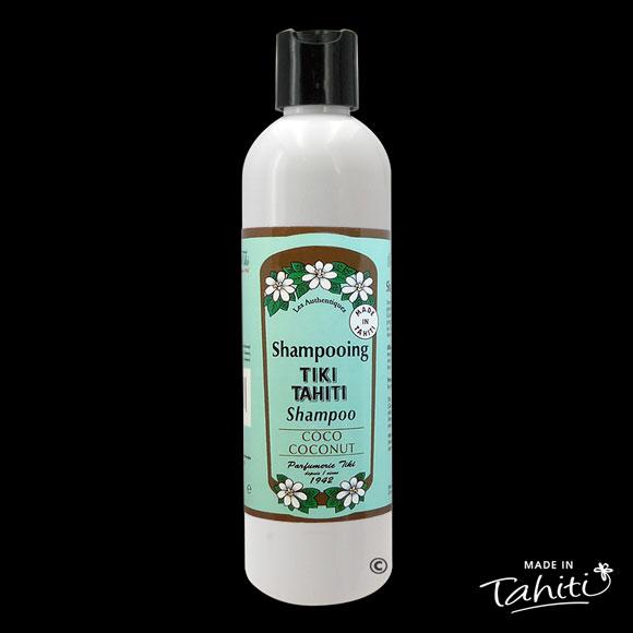 Ce Shampooing au Monoï Tiki Tahiti 250 ml parfum Coco est fabriqué à Tahiti-Faaa par la Parfumerie Tiki depuis 1942.