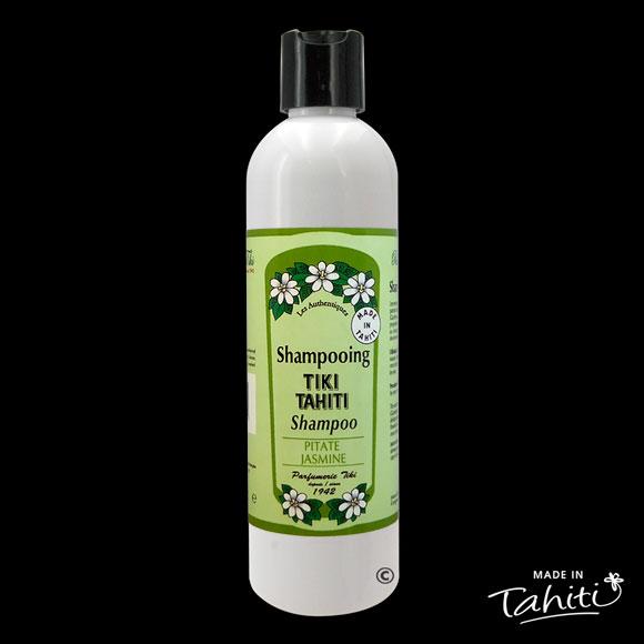 Ce Shampooing au Monoï Tiki Tahiti 250 ml parfum Pitaté (Jasmin) est fabriqué à Tahiti-Faaa par la Parfumerie Tiki depuis 1942.